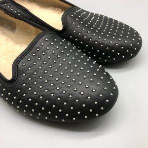 UGG Shoes - UGG black leather studded shearling loafers